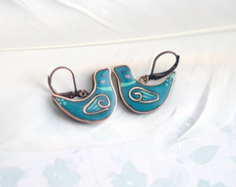 Dark blue bird earrings,  turquoise earrings, gift idea for her