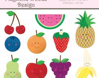 Kawaii Fruit Clip Art, Food Clip Art, Apple Clip Art, Banana Clip Art, Strawberry Clip Art, Small Commercial Clip Art, Cute Fruit Clip Art