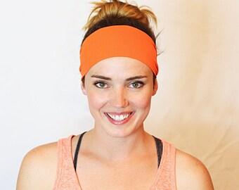 Orange, Workout Headband, Fitness Headband, Yoga Headband, No slip Headband, Running Headband, Wide Headband, Crossfit