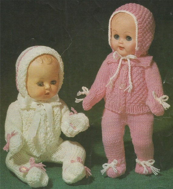 Knitting Patterns For Dolls Clothes 12 Inch : Dolls Clothes PDF Knitting Pattern : 10 12 14 & 16 inch baby