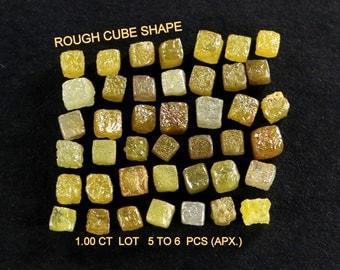 Natural Loose Diamond Uncut Rough Cube Shape Mix Color 1.00 ct Lot N72
