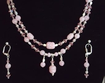 Glass and Crystal Necklace & Earring Set