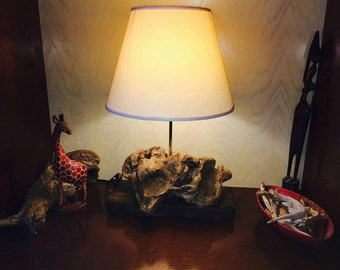 Table lamp made of natural wood from the sea-perfect for a niche or in a special corner of the House