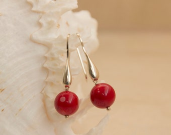 Classic Red Coral Earrings