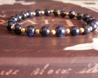 Blue Goldstone Bracelet Gemstone Bracelet Midnight Blue Goldstone Bracelet Blue Bead Bracelet Blue Bracelet Beaded Dark Blue Bracelet