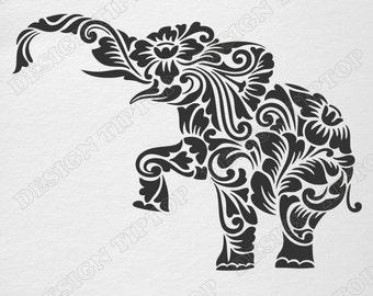 Flower elephant SVG, DXF, cut file, elephant zentangle, elephant template, elephant tattoo, wall decor, sticker, stencil for walls