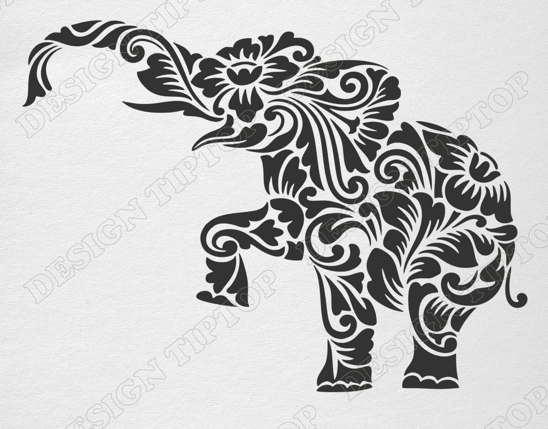 Flower elephant svg dxf cut file elephant zentangle zoom amipublicfo Images