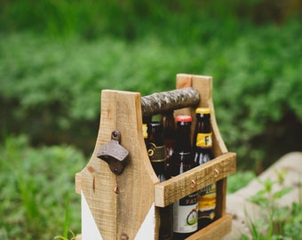 Beer Caddy, Flower Caddy, Beverage Caddy, groomsmen gifts, Fathers day present, Wedding party gift, rustic beer caddy, Fathers Day Gift