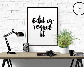 "FUNNY QUOTE ""Edit Or Regret"" It Typographic Print Proofreading Poster Writer's Office Wall Art Editor Teacher Gift Writing Classroom Decor"