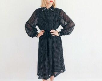 Vintage 50's Black and White Parisian Regal Dress