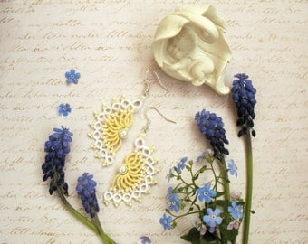 Tatted earrings Angel Tatting jewelry Yellow earrings Lace earrings Tatting lace Bridesmaid earrings Wedding earrings Chandelier earrings