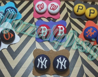 MLB Fabric Post Earrings-Button Earrings-Post/Stud Earrings-Sports-Yankees-Red Sox- Mets- O's-Mets-Nationals-Tampa Bay-Cardinals-HTV- Vinyl