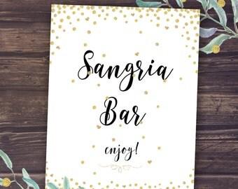 Sangria Bar Sign, Printable Sangria Drinks Table Sign, Wedding Decor, Bridal Shower Decorations Instant Download, DIY Banners, Gold Black