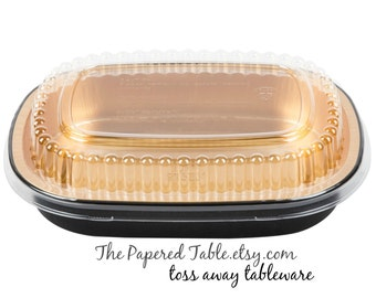 BLACK AND GOLD Food Trays, 10 Elegant Black and Metallic Gold Food Trays with Clear Plastic Lids, Shimmering Gold Upscale Plates, Carry Out