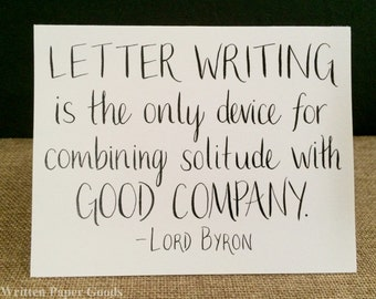 Lord Byron Letter Writing Quotation Card - Stationery for Introverts - Handmade Card for Pen Pals