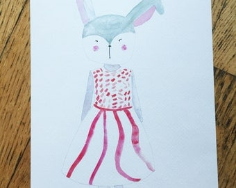 Bunny in a dress print