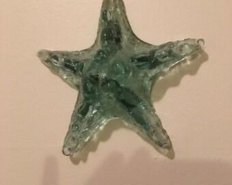glass starfish wall-piece, glass starfish ornament