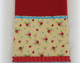 Red Kitchen Tea Towel with Summer Strawberries