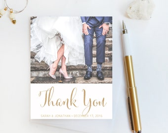 Wedding Thank You Card, Custom Photo Wedding Thank You Cards Gold Foil Wedding Thank You Cards Vintage Gold Foil Wedding Cards Sarah4
