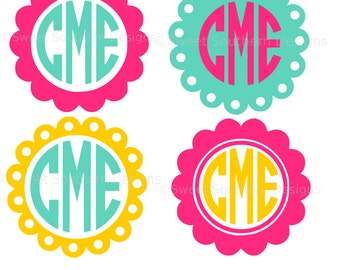 Monogram scallop circle frame solid polka dot set SVG instant download design for cricut or silhouette
