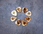Reclaimed aspen wood guitar picks - upcycled, hand-carved, handmade, re-purposed, aspen leaf