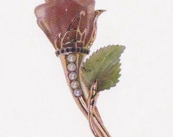 Brooch Rose (Брош Роза: золотос драгоценными камнями)