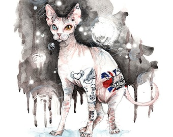 Tattoo True Sphinx. High quality print from original painting by OneCreativeMother.