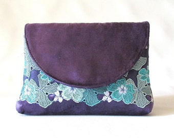 Purple Wedding Clutch, Velvet bridal clutch, lace bridesmaid clutch, Teal floral lace clutch purse, wedding gift, something blue , Lilac