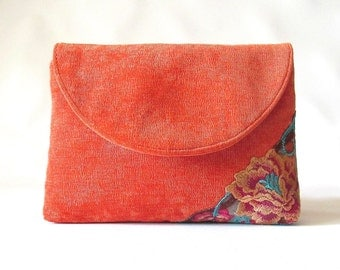 Tangerine Wedding Clutch,  Orange Velvet bridal clutch, lace bridesmaid clutch,  orange floral lace clutch purse, wedding gift