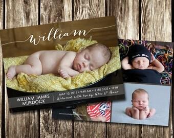 Photo Birth Announcement   Girl or Boy Photo Birth Announcement   DIY PRINTABLE or PRINTED   Basket Photo Announce