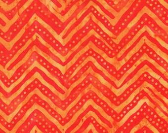BTHY - Indonesian Batik Cotton Fabric, Pattern 1103, Pumpkin Orange with yellow zig zags and yellow dotted orange Pinking, HALF YARD