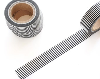 Black and White Thin Stripes Washi Tape 15mm/ Masking Tape/ Deco Tape/ Birthday Wedding Party Washi Tape Pretty Packaging
