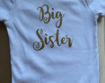 Big Sister Onesie // Kids Clothing // Gold Sparkle