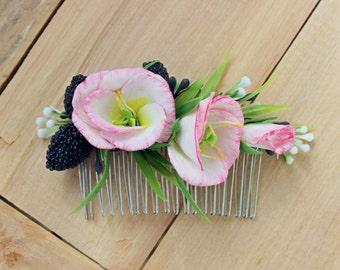 Wedding flower hair comb, Bridal flower hairpiece, Wedding hair accessory, Flower comb, Flower decorative comb, Flower bridal headpiece