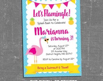 Flamingo Birthday Party Invitation, Flamingo Invitation, Add Photo, Pineapple, Sunglasses, Yellow, Pink, Digital, Printed