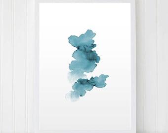 Abstract wall art. Blot art. Watercolor Blur. Abstract Blot. Blue Art, Home Decor, Printable Wall Art. Modern Print. Sky Art. Nursery Art