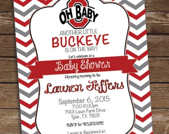 Ohio State Baby Shower Invitation - Buckeye Baby Shower Birthday Party - Printed and Printable