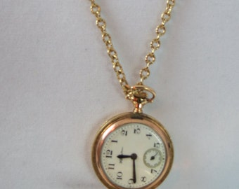 Antique 14k Gold Filled Ladies Hampden Pocket Watch & Locket Necklace c. 1905