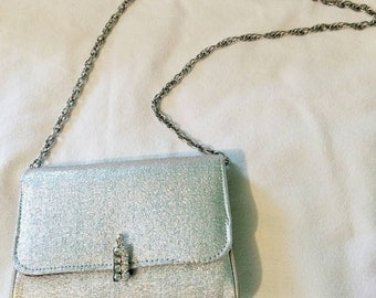 Metallic Silver Jaclyn Evening Bag with Rhinestone Clasp