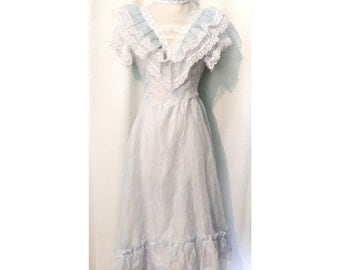 70s Polka-Dotted Ruffles and Lace Prairie Dress