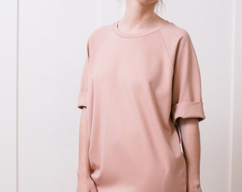Women's tshirt dress Women tunic Blush dress Mini dress Oversized t shirt Pink dress Raglan sleeve