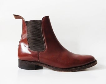 Men's Chelsea Boots Brown Leather Boots Brown Chelsea Boots Leather Ankle Boots Elastic Sided Boots Made in England UK 6.5 EUR 40 US 7.5