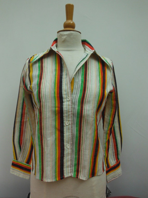 Vintage Colourful Stripe 70s Blouse - Size 8 10