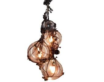 Knottical Chandelier, Nautical Ceiling Light, Fishing Globe, Fisherman Float, Rope, Beach Decor, Nautical Home, Beach House, Tiki, Rustic