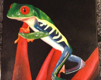 Oil painting exotic frog