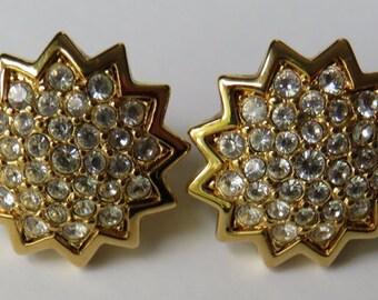 Vintage Swarovski Earrings Vintage Jewelry Gold Tone Earrings Swarovski Crystal Clip On Earrings
