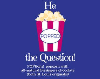 He POPPED the Question Popcorn Favor Labels, Engagement Party/Wedding