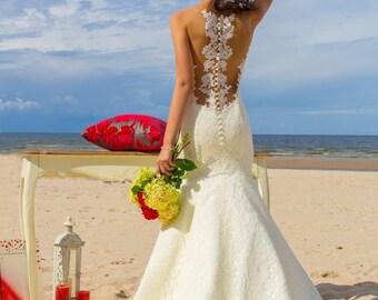 Mermaid wedding dress Pier, lace trumpet wedding dress, illusion open back wedding dress, closed back wedding dress, romantic style, train