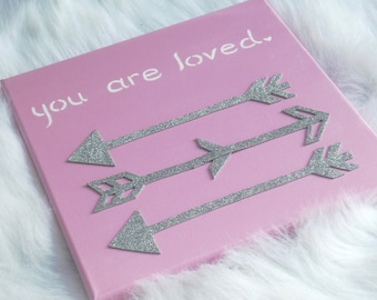 Silver, Pink and White Canvas Wall Decor with Arrows. Girls Room.