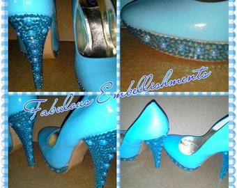 Blue Bedazzled Heels